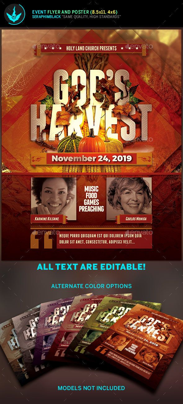 Godu0027s Harvest Fall Flyer Template Flyer template, Psd templates - fall flyer