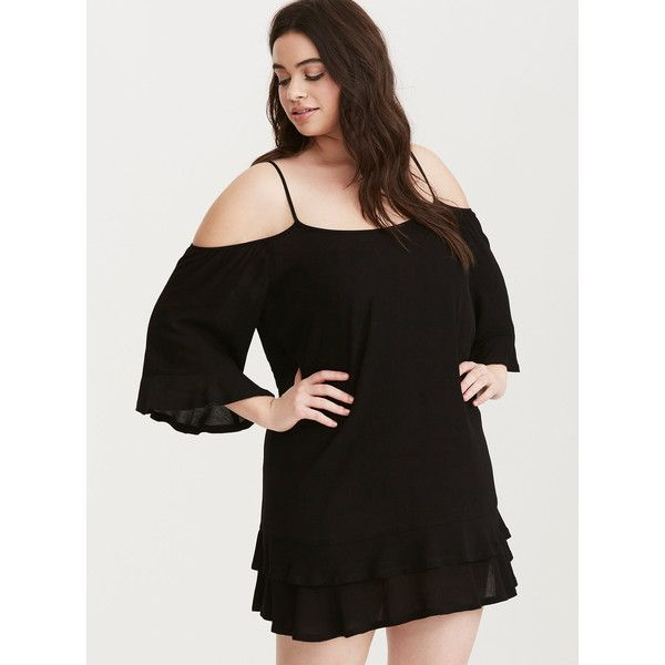 Torrid Voile Cold Shoulder Swim Cover Up 55 Liked On Polyvore Featuring Swimwear Cover Ups Deep Black Plus Size Beach Wear Plus Size Swimwear Cover Up