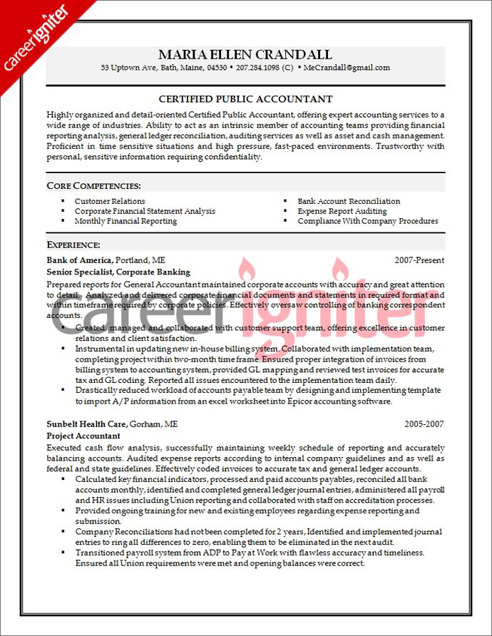 Accounting Resume Sample Resume Pinterest Sample resume and - Cpa Resume Examples