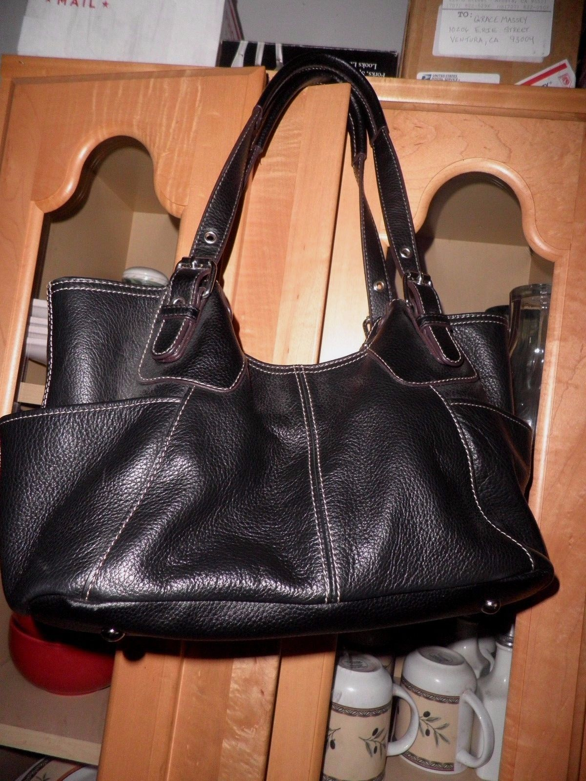 Tignanello Full Grained Black Leather Handbag Ebay