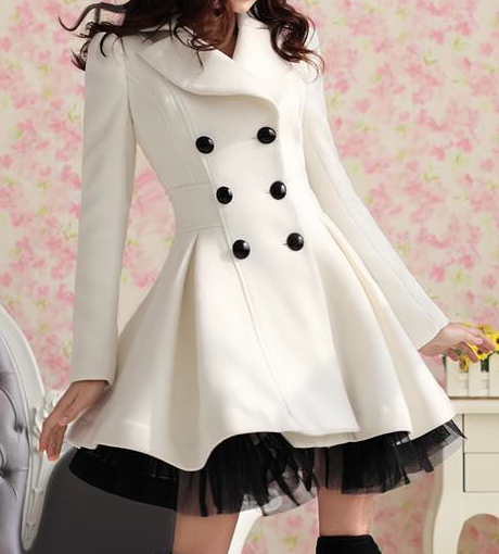 White trench coat with black buttons