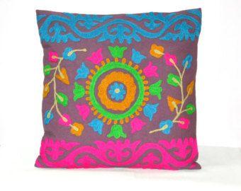 16x 16 Pillow Cover, Suzani Throw Pillow, Decorative Brown Pillow, Indian Pillow Cover, Pillowcase, Indian Cushion Cover, Large Pillow
