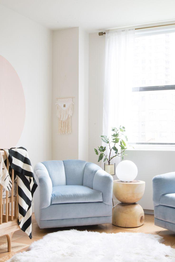Modern baby blue velvet club chair. | Living Room Family Room ...