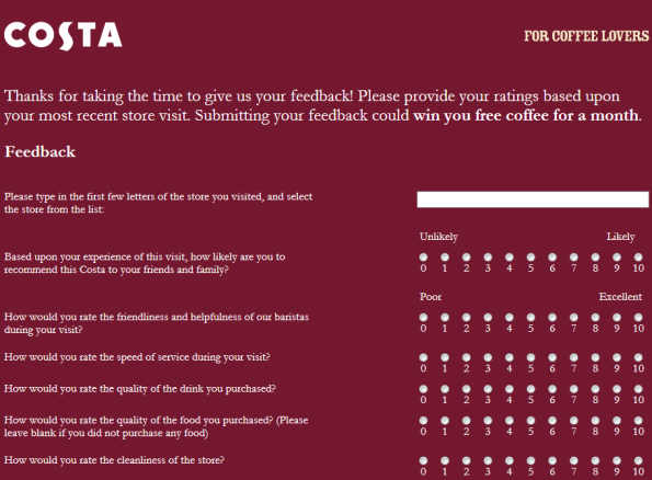 Costa Coffee Customer Satisfaction Survey WwwCostafeedbackCoUk