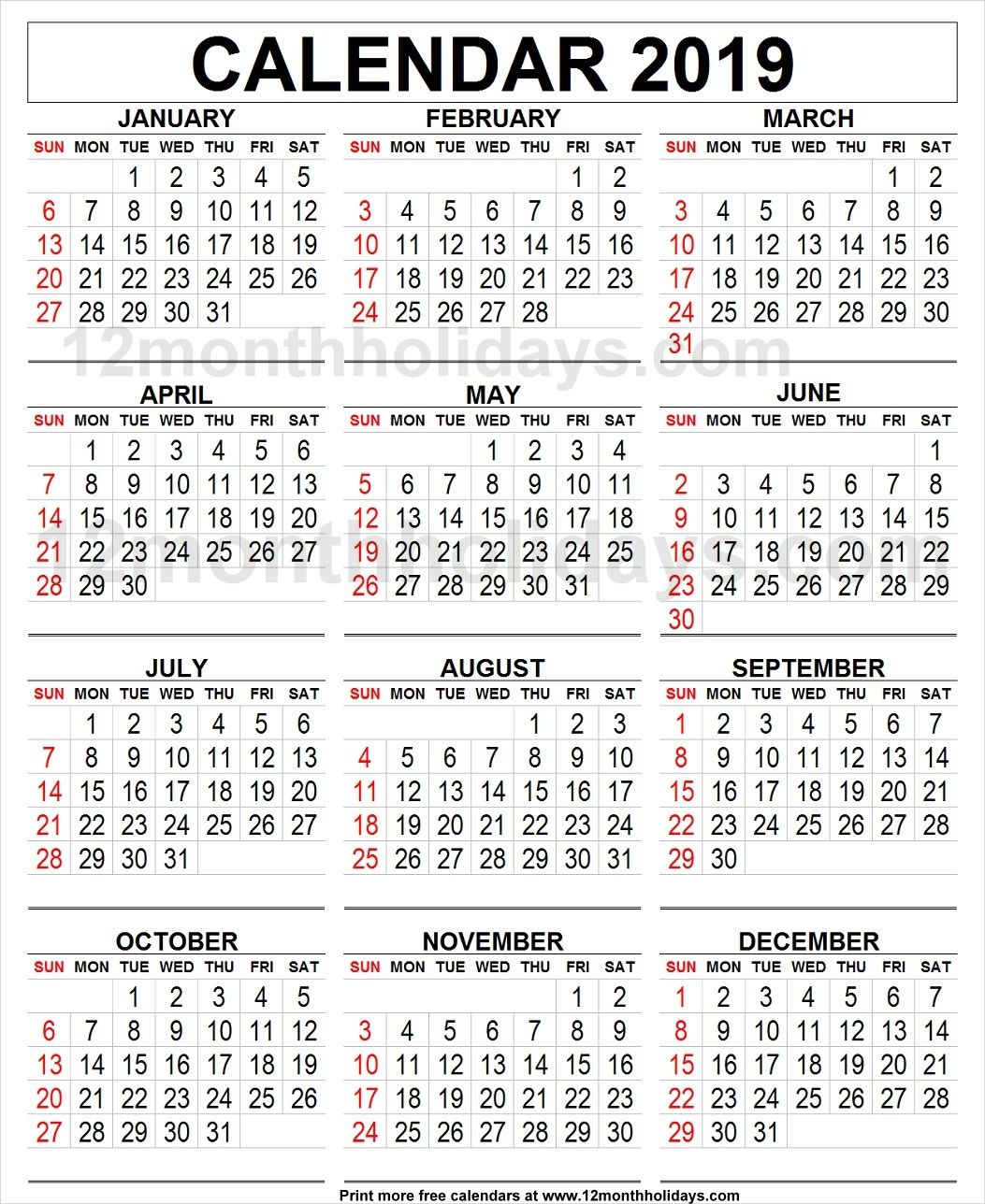 Large Calendar 2019 Calendar 2019 Large | 2019 Yearly Calendar | Printable blank