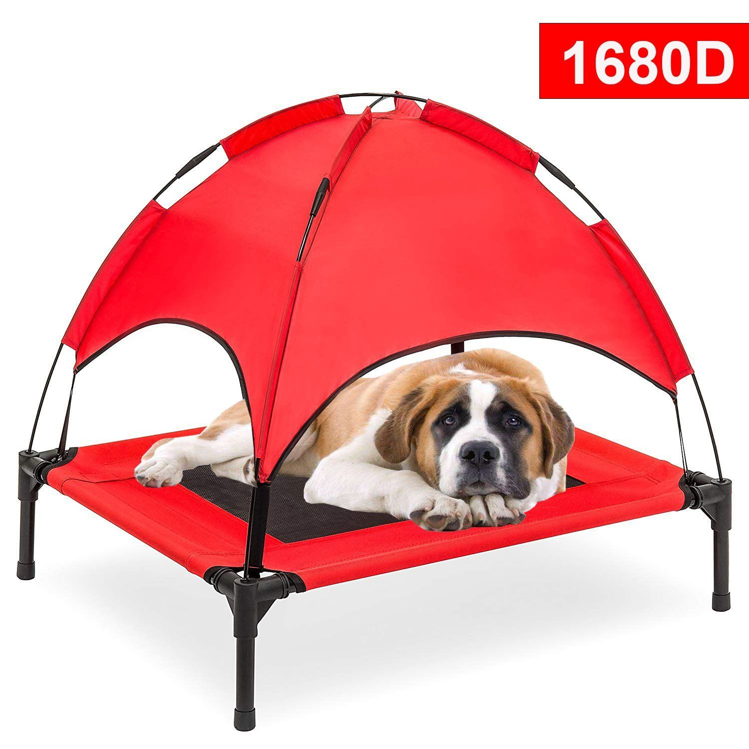 Reliancer Large 30 Elevated Dog Cot With Canopy Shade 1680d Oxford