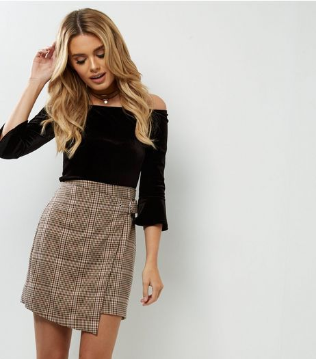 1f416dfba3434 Brown Check Wrap Front Skirt