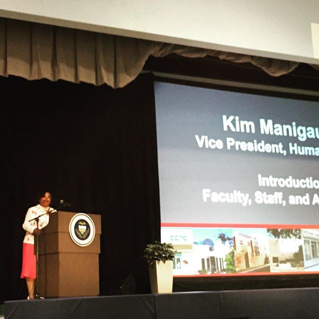 VP of Human Resources Kimberly Manigault introduces the new employees at the #CCAC All College Day.