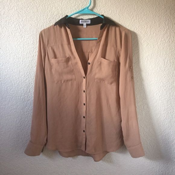 Express blouse very cute, leather collar, has button on sleeves so you can roll up shirt. Great for work or even going out. Express Tops Blouses