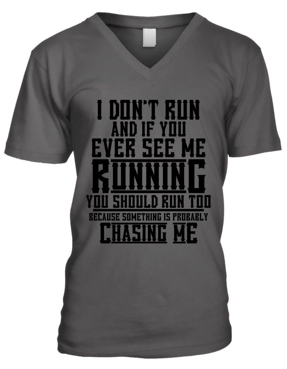 See Me Running Chase Me Funny Humor Joke Meme Zombie Mens V-neck T-shirt