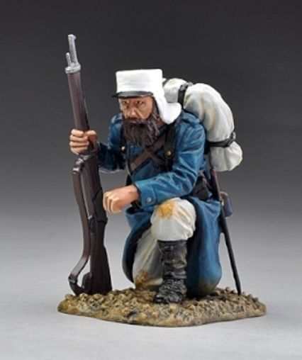 French Foreign Legion FFL029A Scout Kneeling with Rifle - Made by Thomas Gunn Military Miniatures and Models. Factory made, hand assembled, painted and boxed in a padded decorative box. Excellent gift for the enthusiast.