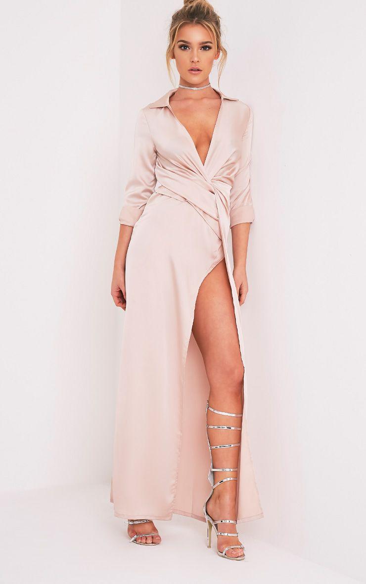 Alyssia Champagne Twist Front Maxi Shirt Dress | Wrap Drape | Pinterest