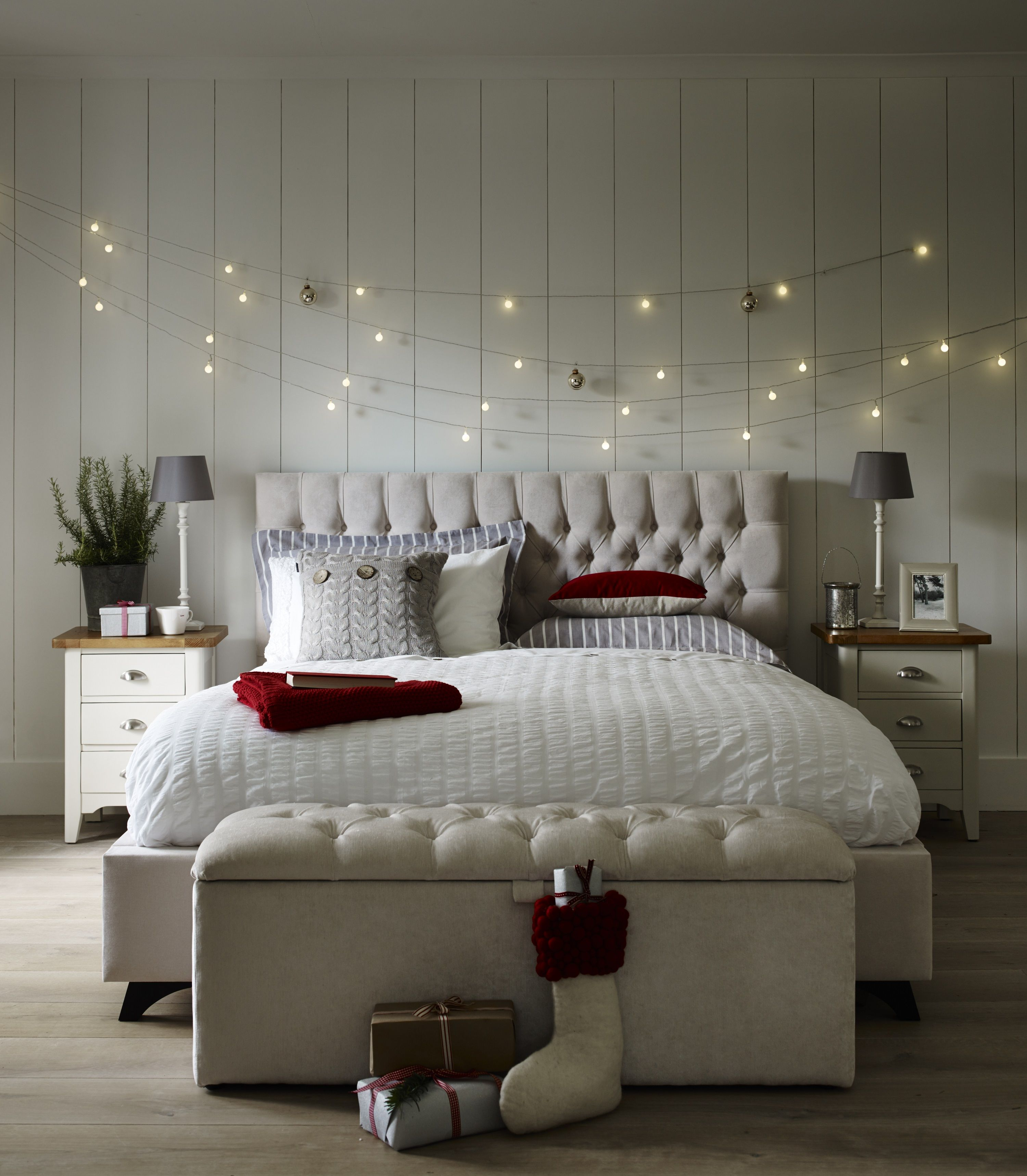 Add Strings Of Fairy Lights Above The Bed For A Magical Christmas