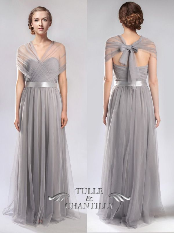 Medium Grey Convertible Tulle Bridesmaid Dress 2017