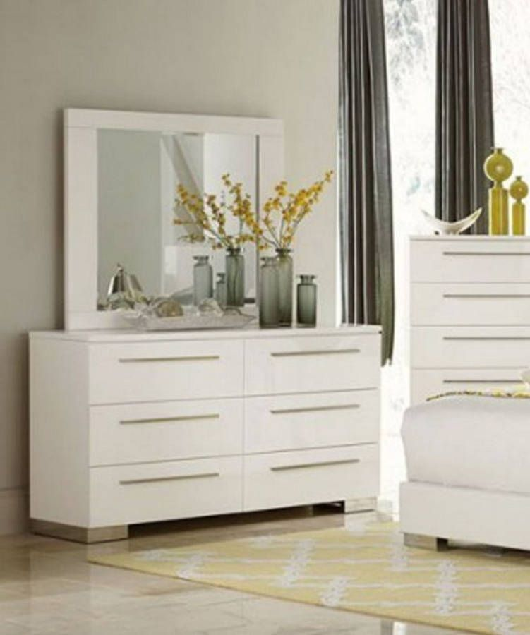 Linnea Contemporary White Glass Dresser Mirror Modern Bedrooms
