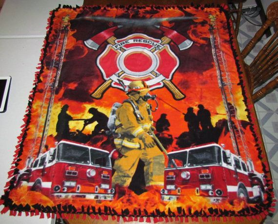 Fire Rescue Scene Fleece Tie Blanket Full By