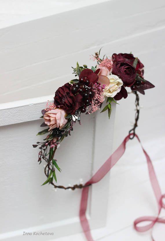 Photo of Maroon blush pink flower crown Burgundy floral headpiece 2020 – wedding motto.s …