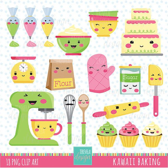 BAKING clip art, commercial use, kawaii clipart, kitchen ...