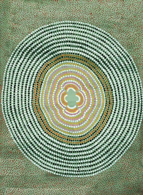 Janangoo Butcher Cherel (c1920-2009) Yimirnarra Pays IV, peinture polymère 2001synthetic sur paper76.0 x 56,5 cm
