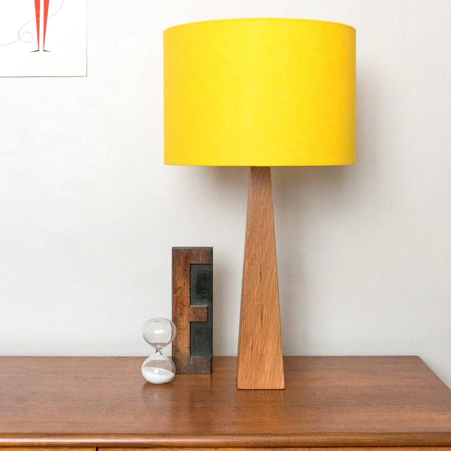 This vibrant table lamp with simple contemporary design and stunning sunny  yellow lampshade is stylish for. Yellow Wooden Table Lamp   Wooden lamp  Hard wood and Lamp bases