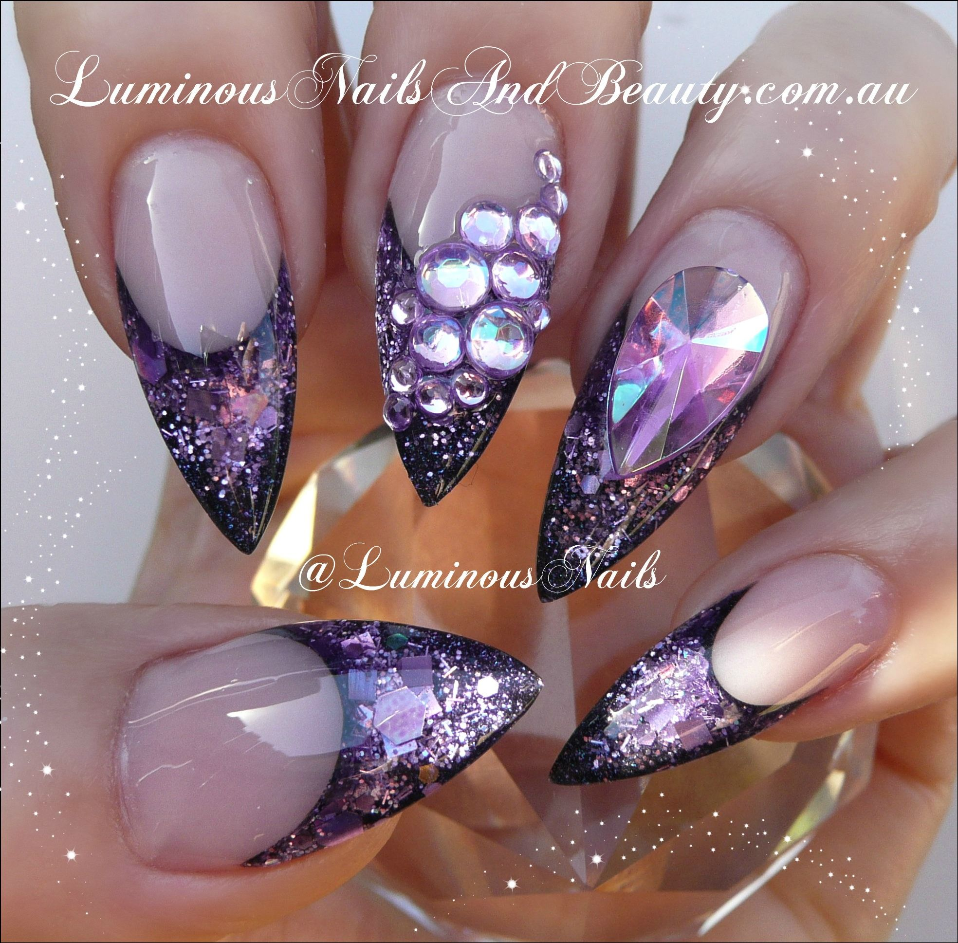 Sculptured Acrylic With Indigo Aquarius Lavender Violet Glitter Purple Crystals Pointy Nails Luminous Nails Purple Glitter Nails Nail Art Designs