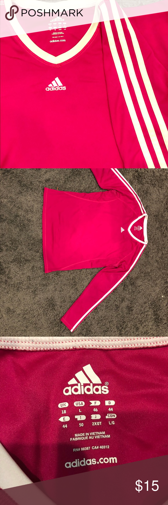 58d4614acc45 Raspberry Long Sleeve Adidas Workout Top Lots of life left! adidas Tops  Tees - Long