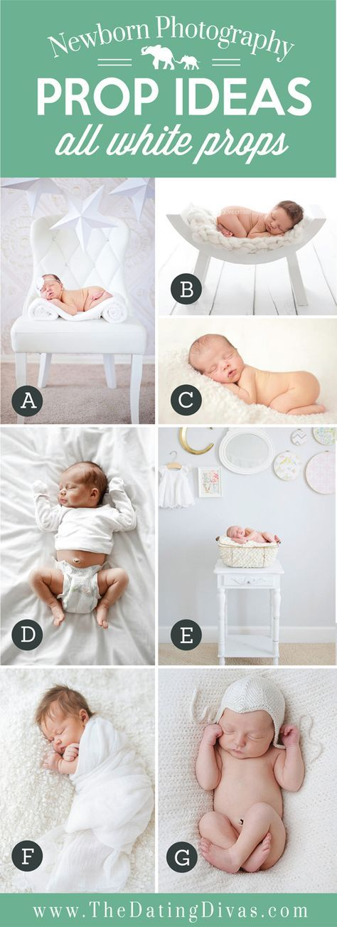 Adorable newborn photography prop ideas using all white objects