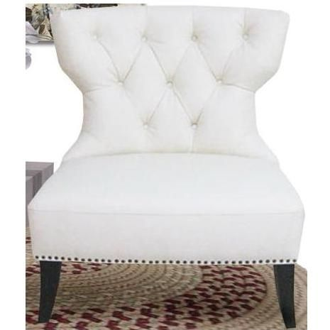 Attractive Diamond Sofa Zoey Tufted Leather Accent Chair With Nailhead Accents   White