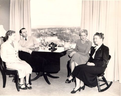 Executive Assistant William Lewis and Senator Margaret Chase Smith entertain friends at the Senator's home in 1949.
