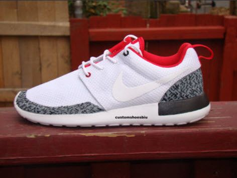 brand new a65c3 93155 SALE- Custom White Nike Roshe Run- Air Jordan White Cement Black Gray Red  White Roshe -Black Sole- Unisex