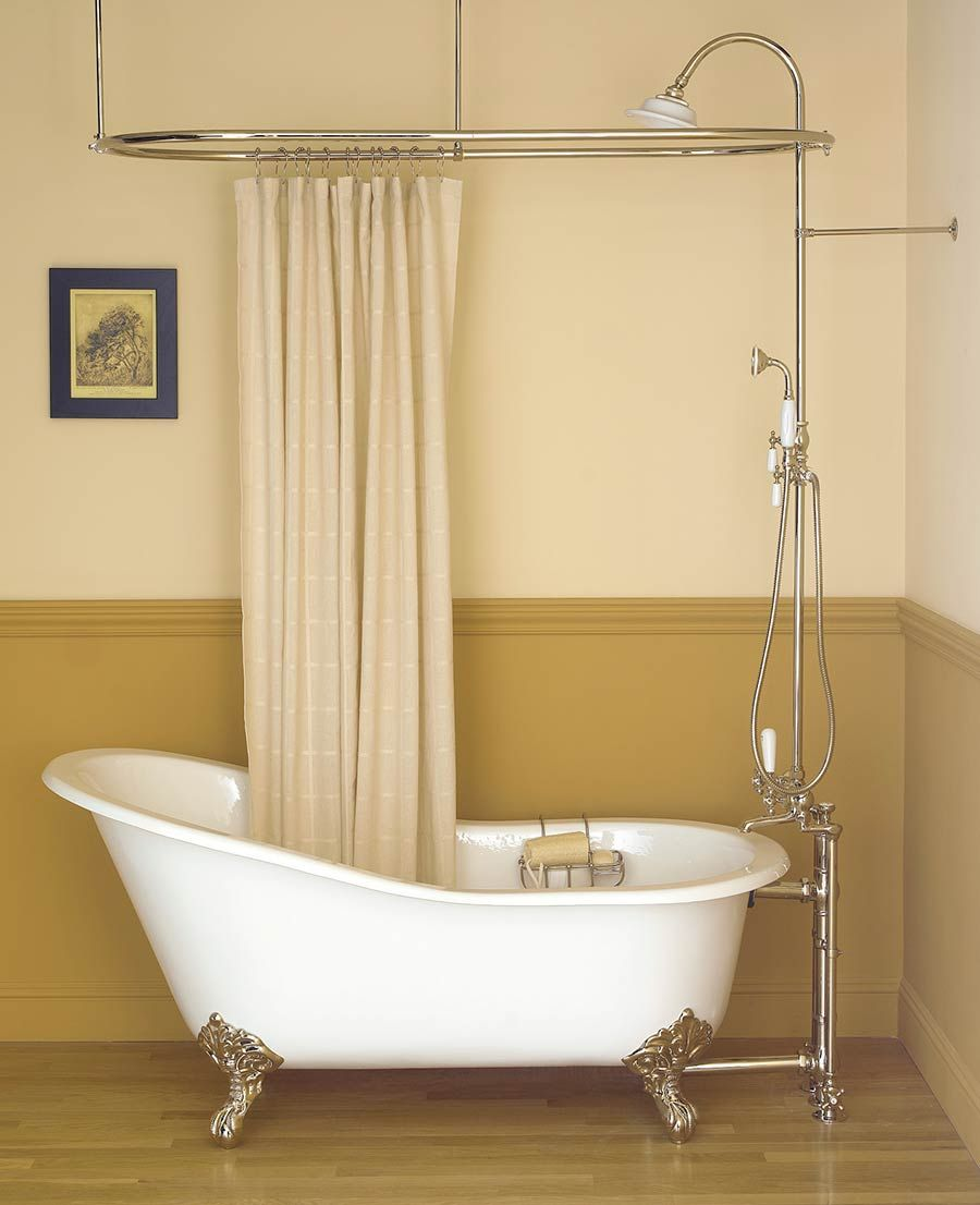 Inspiring Bathroom Decor With Clawfoot Tub Shower: Oval Shower Curtain Rod  And Freestanding Tub Filler