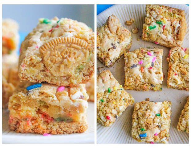 Golden Oreo Cake Batter Blondies Recipe Cake batter Blondies
