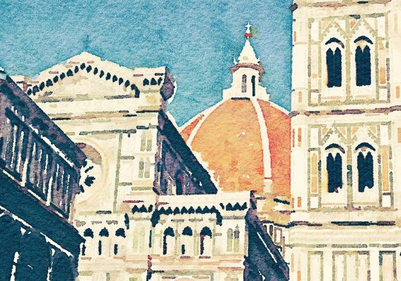 Watercolor Of Piazza Del Duomo Florence Italy Giclee Print