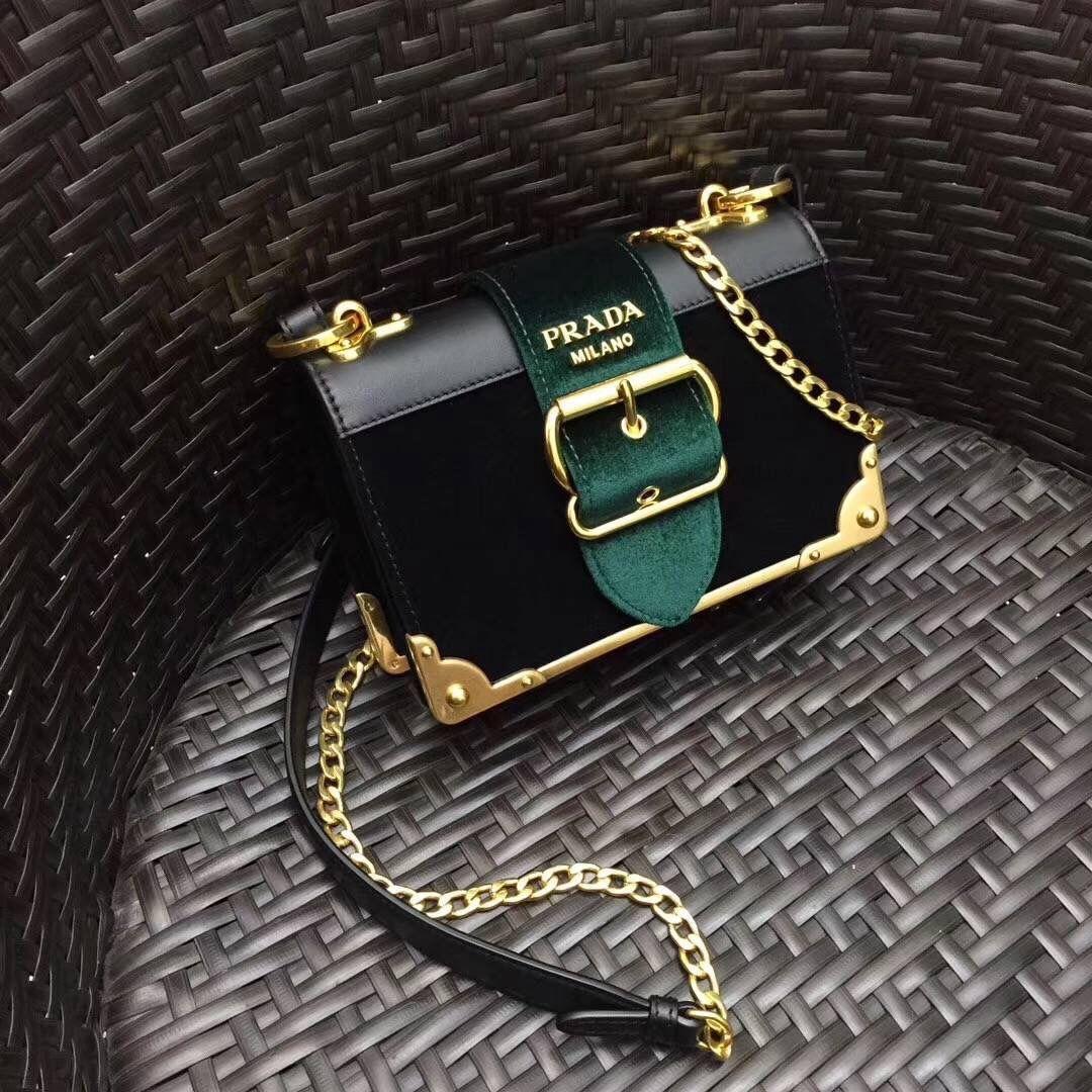 4f26f0de91fb74 Prada Saffiano & Smooth Leather Shoulder Bag 1BH056 Green/Black 2017 | Prada  Bags: Totes, Crossbody & More | Pinterest | Prada, Bags and Leather  shoulder ...