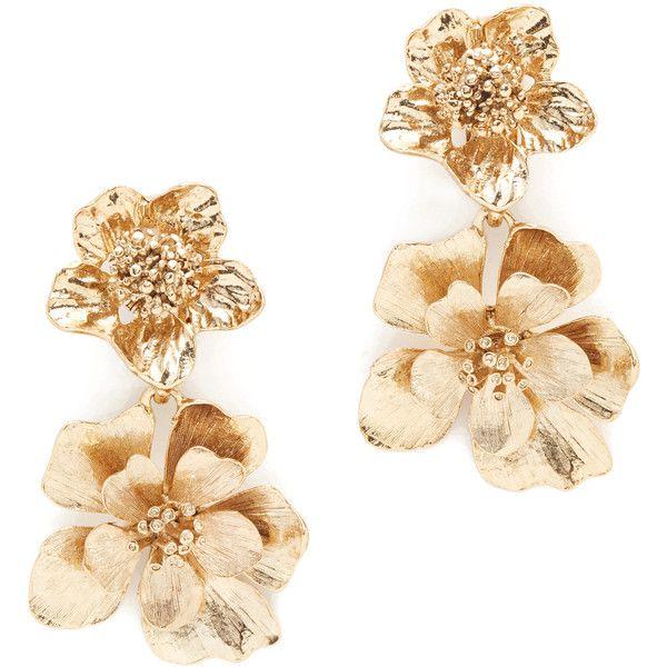 deb64656f89 Oscar De La Renta Bold Flower Drop Earrings ($245) ❤ liked on Polyvore  featuring jewelry, earrings, gold plated earrings, oscar de la renta, ...