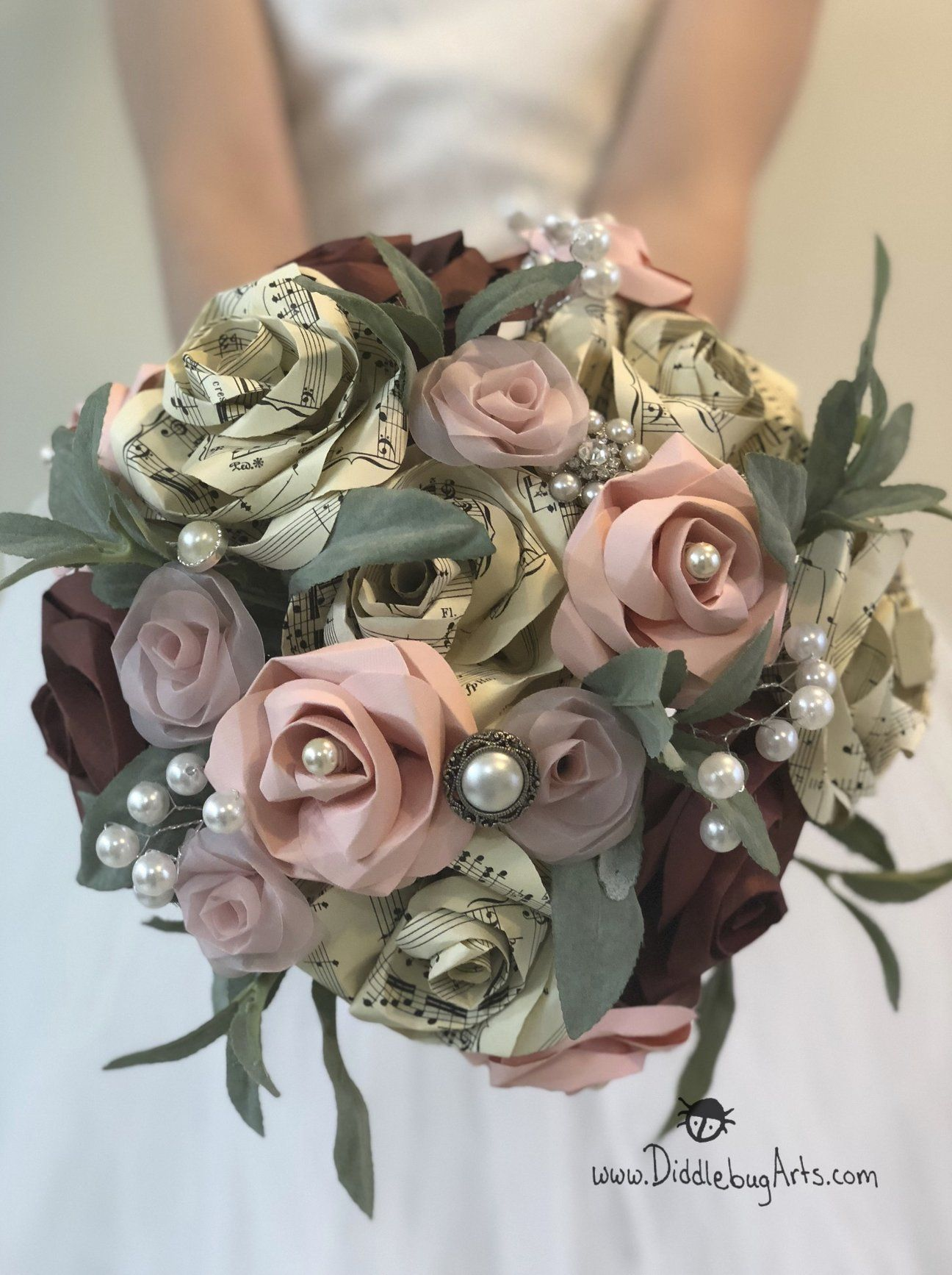 Georgiana Bouquet - Book Page or Sheet Music Paper Rose and Pearl Bouquet with Silk Greenery #paperflowerswedding