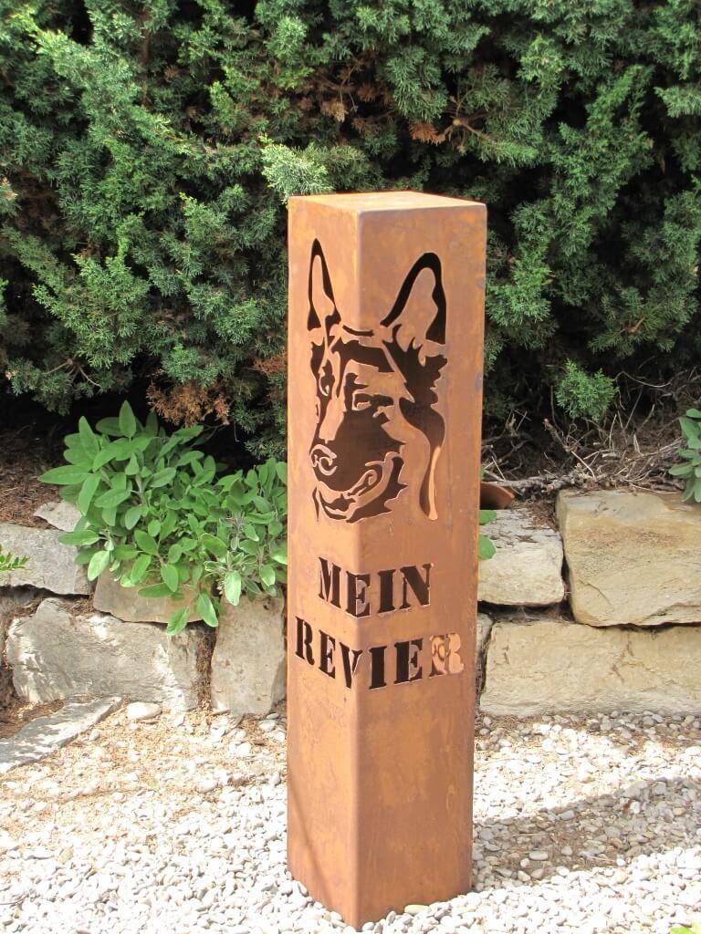 Rostsäule Hund Edelrostsäule Garten Säule Schriftzug Hier wache ich Deko