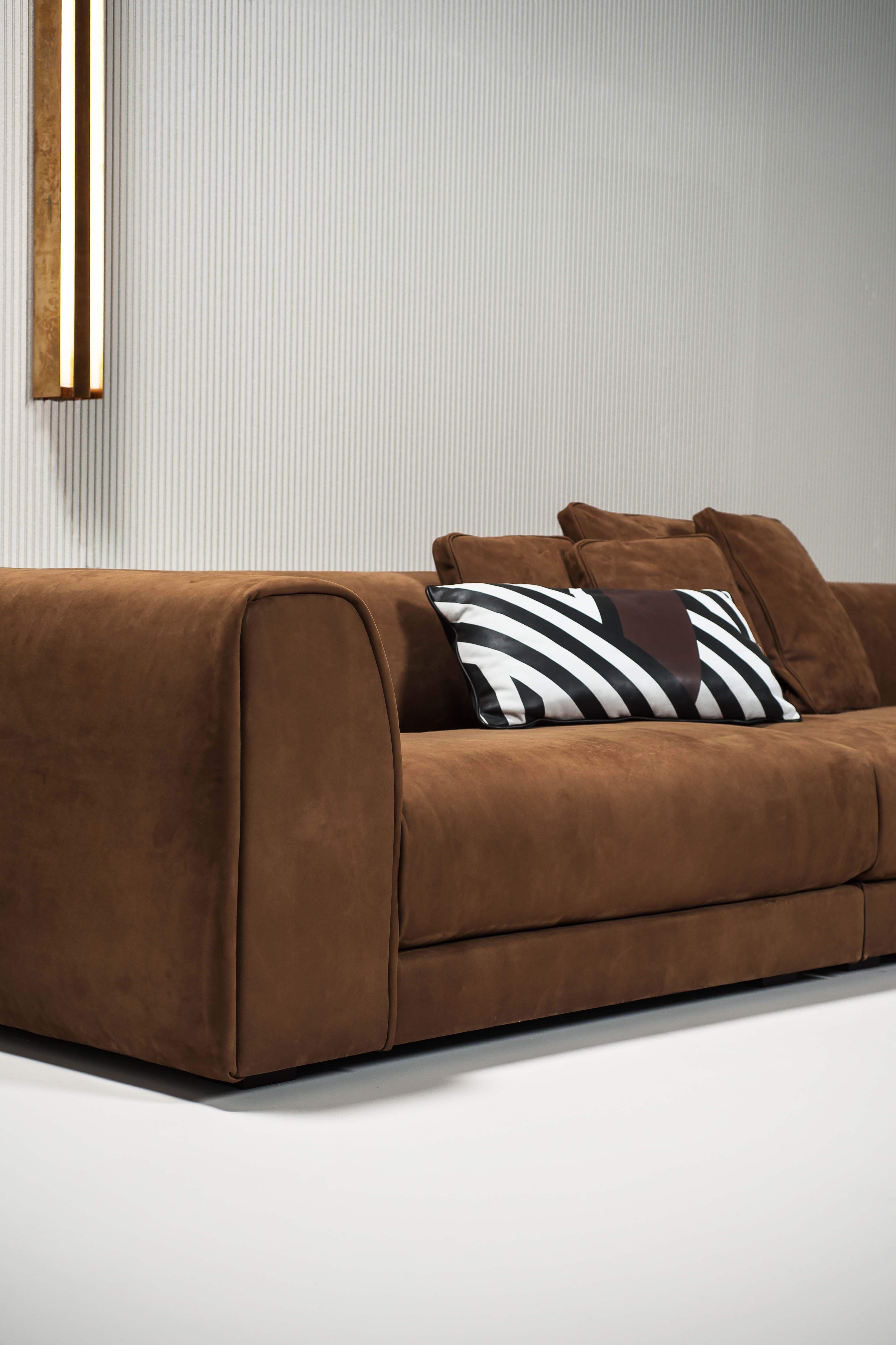 Sofa Rafael Design Roberto Lazzeroni Kashmir Cognac Leather