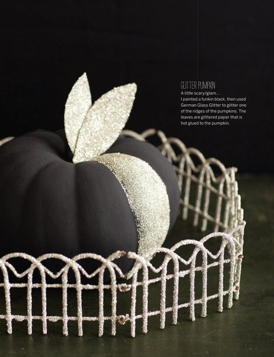 Love The One Strip Of Silver Via Jaimeerose Glitter Pumpkins Pumpkin Decorating Fall Halloween Decor