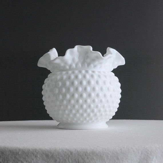 Vintage Hobnail Milk Glass Vase Fenton Large And Round White Vase