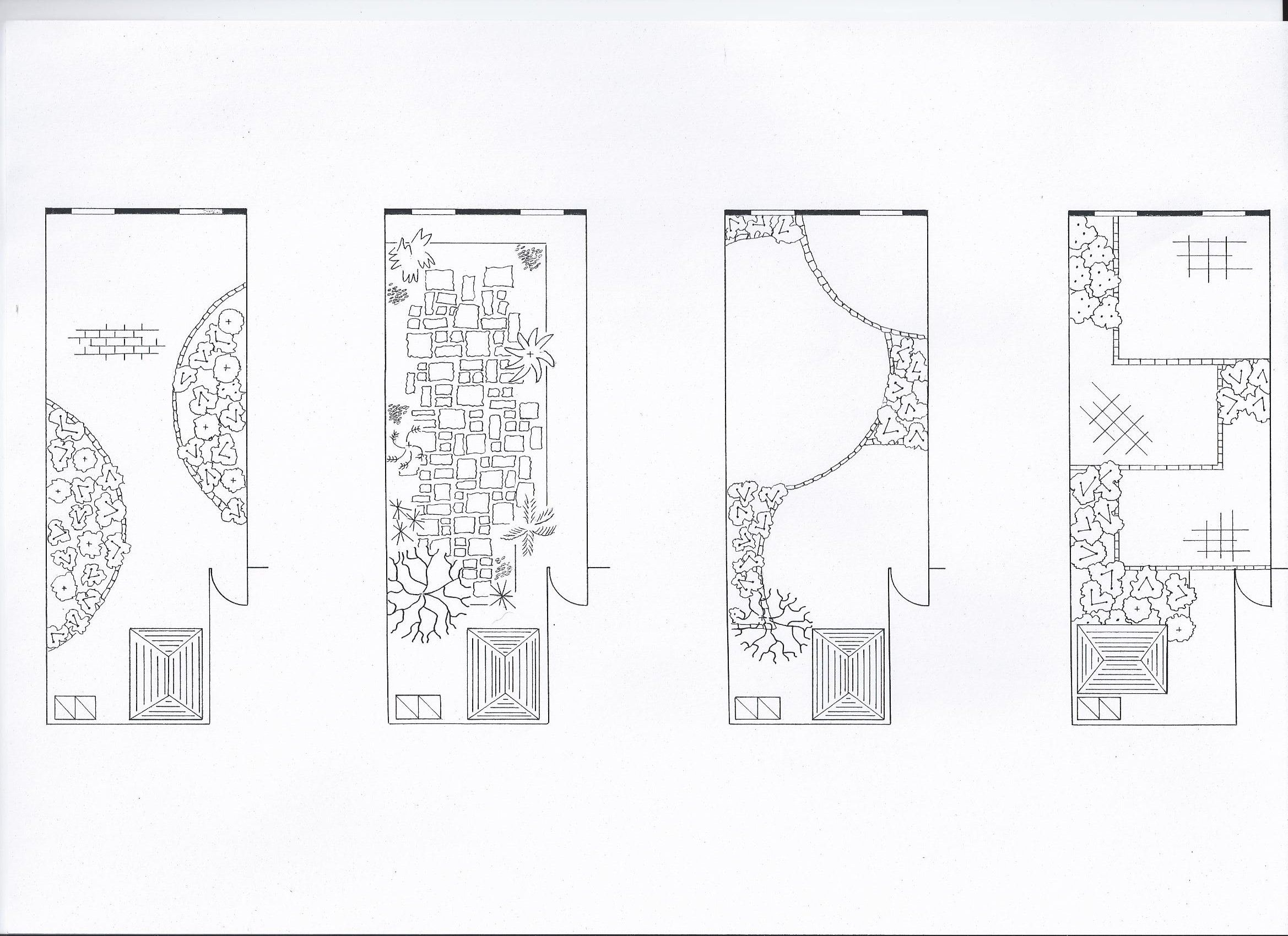 Plans for a medium sized garden showing overall view and for Herbaceous border design examples