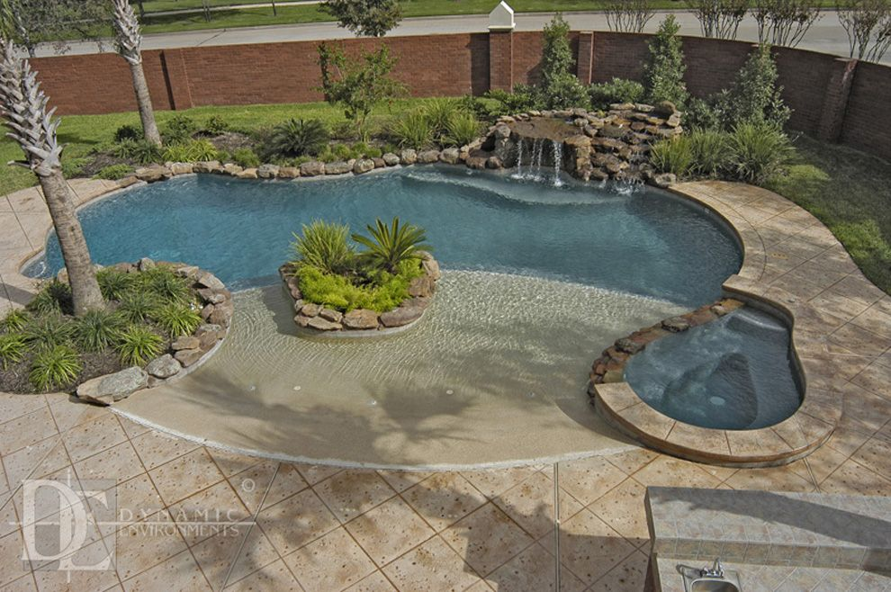 Swimming pool ideas pool houses on pinterest pool houses for Pool design with beach entry