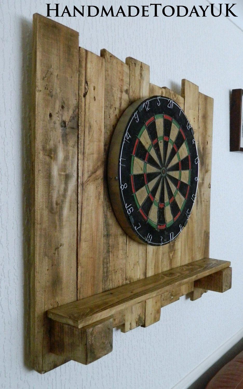 Handmade Rustic Driftwood Dartboard Backboard With Built