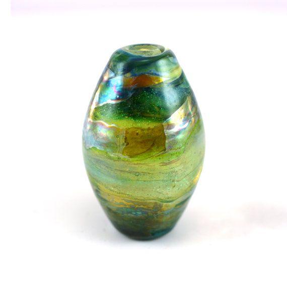 Lots of Greens Dichroic Handmade Glass Lampwork by GlassyFields