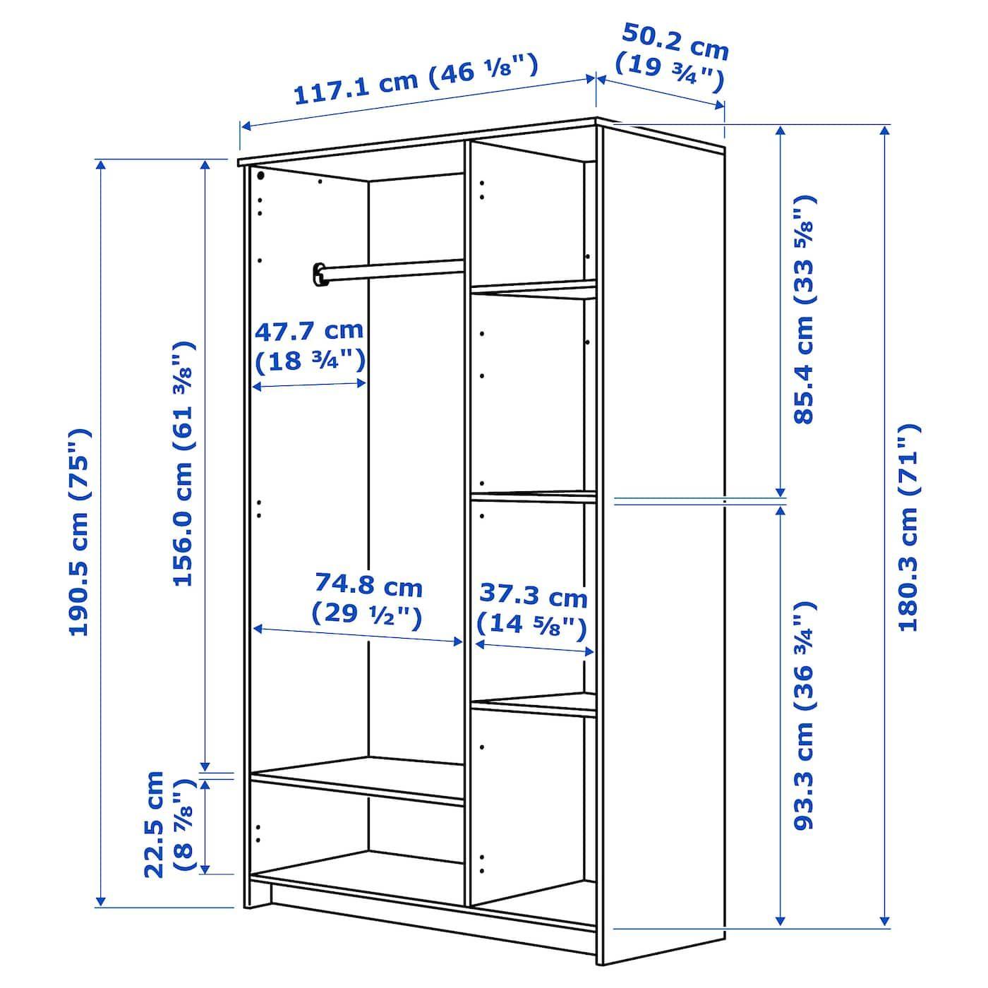 BRIMNES Wardrobe with 3 doors black 46x74 3/4