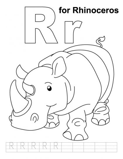 R For Rhinoceros Coloring Page With Handwriting Practice Abc Coloring Letter R Crafts Rhinoceros