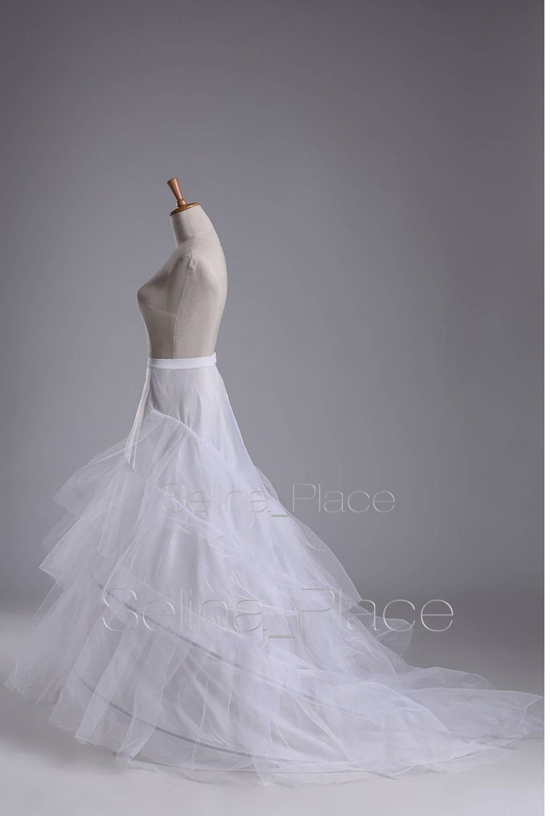 White 2 Hoop Train Wedding Dress Bridal Gown Crinoline Petticoat Skirt Slip