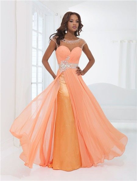 flowing illusion neckline cap sleeve backless long orange chiffon