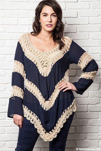a753fde35a2 PLUS SIZE Boho V-Neck Long Sleeve Crochet Tunic Top-Navy Blue   New ...