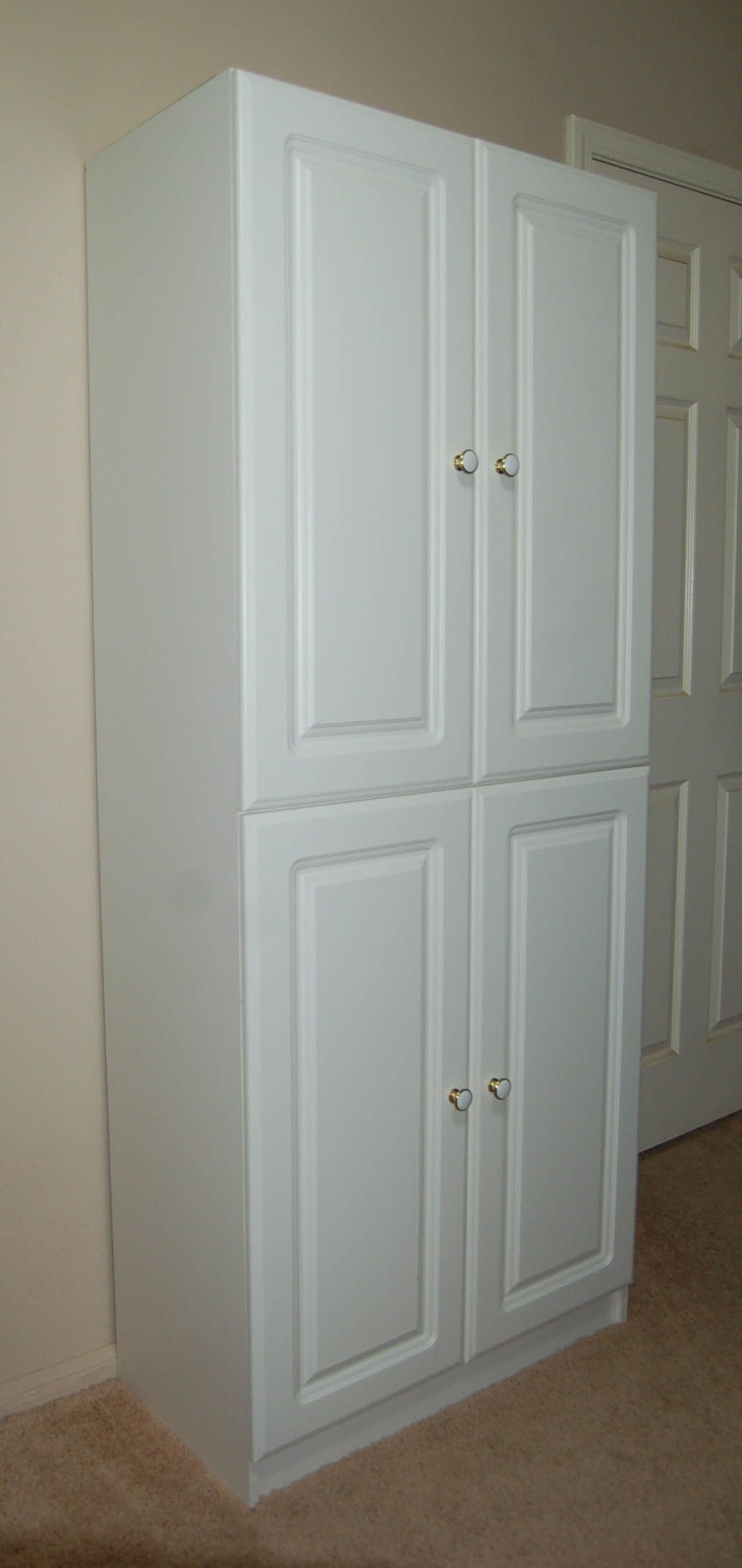 Awesome Tall White Painted Pine Wood Kitchen Cabinet With ...